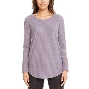 Chaser Purple Waffle Knit Thermal Long Sleeve Tee